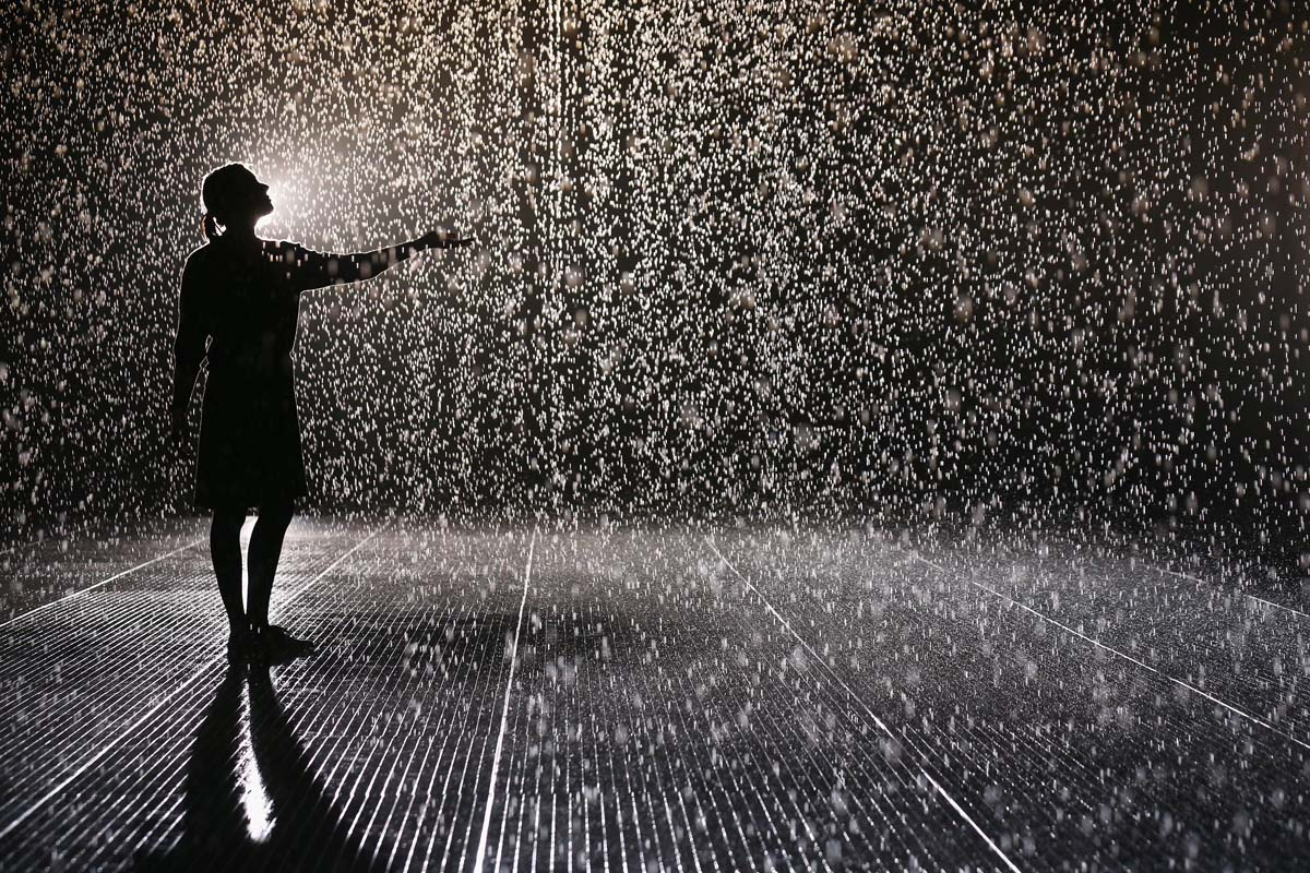 Rain Room is a hundred square metre field of falling water through